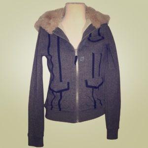 Marc Jacobs Faux Fur Grayish Blue Hoodie Jacket